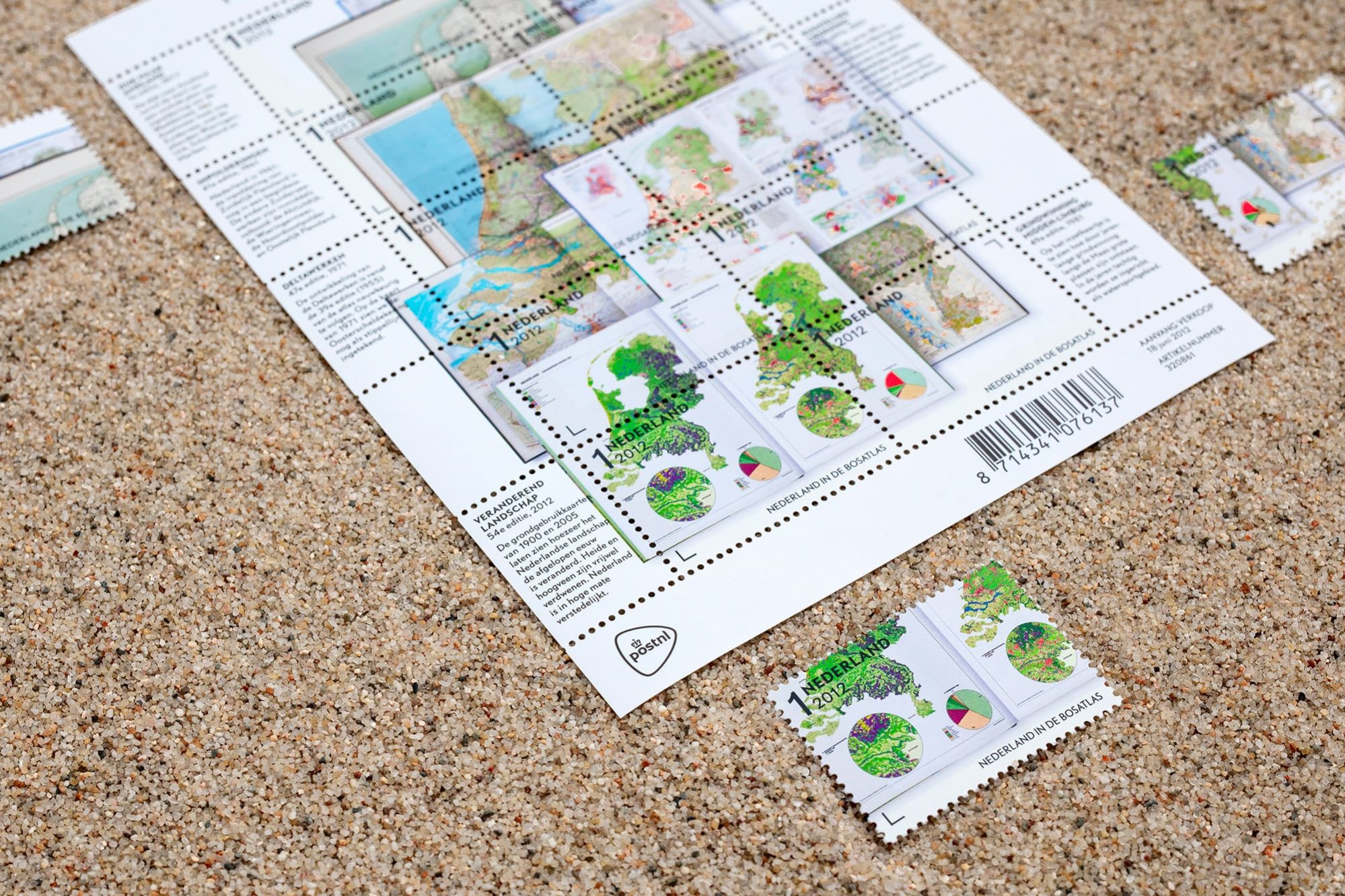 Haller Brun Nederland in de Bosatlas stamps Post NL Noordhoff Publishers