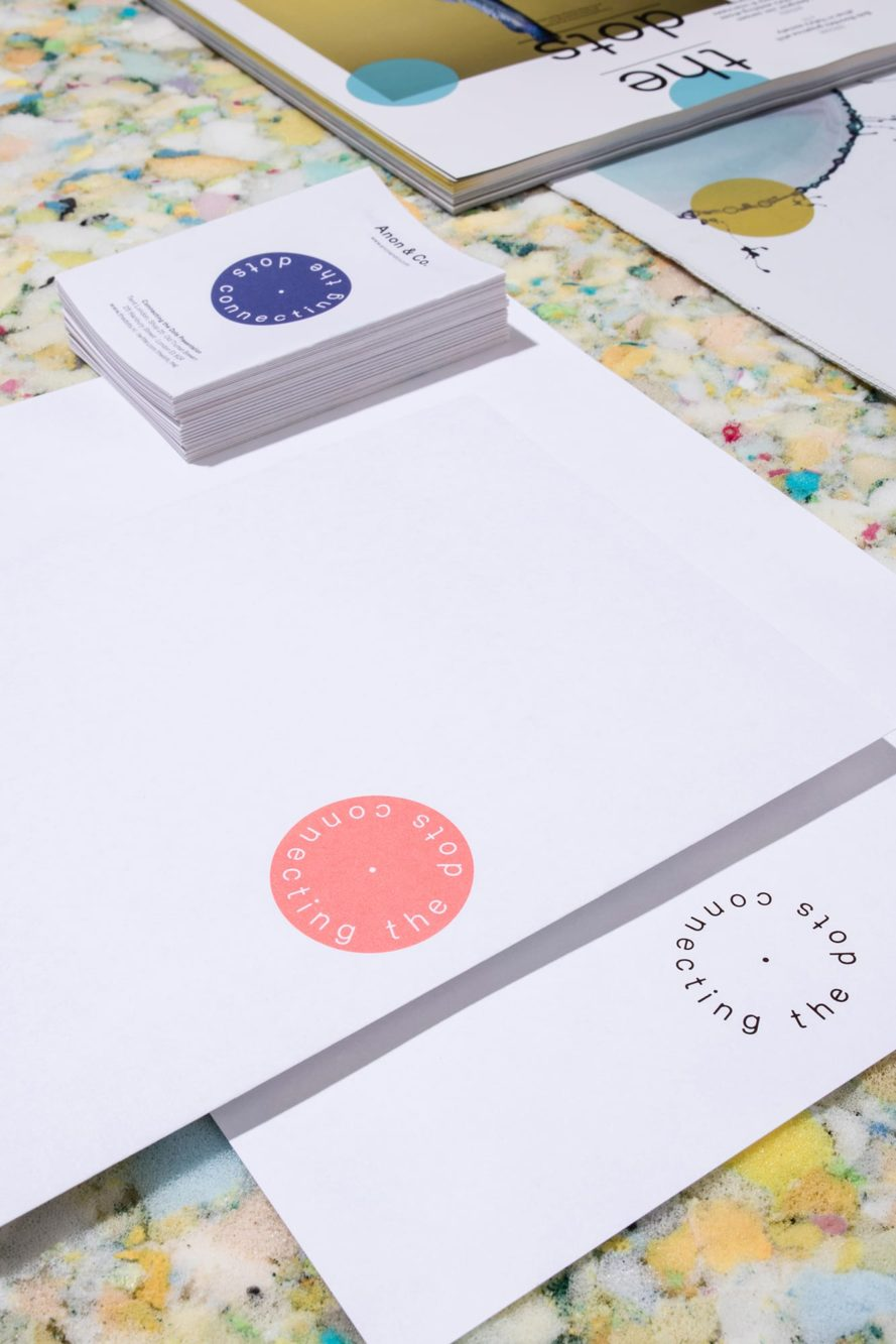 Haller Brun Connecting the Dots visual identity business card stationery letterhead envelope magazine newspaper