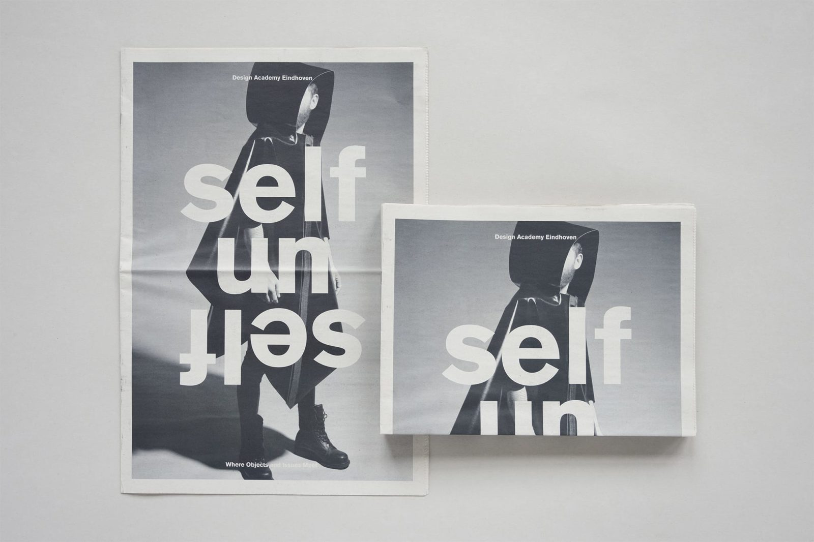 Haller Brun Design Academy Eindhoven Salone del Mobile Milano 2013 Self Unself visual identity newspaper banner